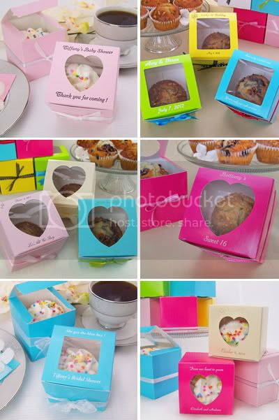Personalized colorful individual cupcake boxes in assorted sizes